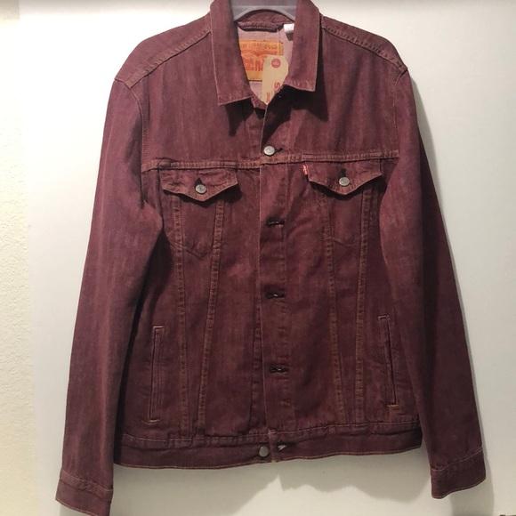 Levi's Men L Solid Stitched Bomber Burgundy Jacket